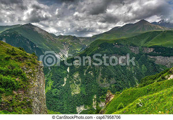 Mountain Panorama - Kazbegi, Georgia - csp67958706