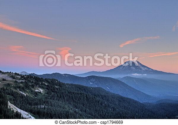 Mountain peak at sunset - csp1794669