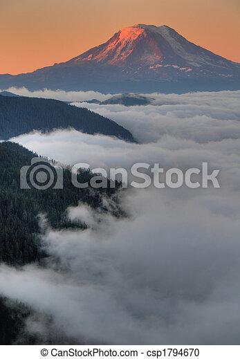 Mountain peak at sunset - csp1794670