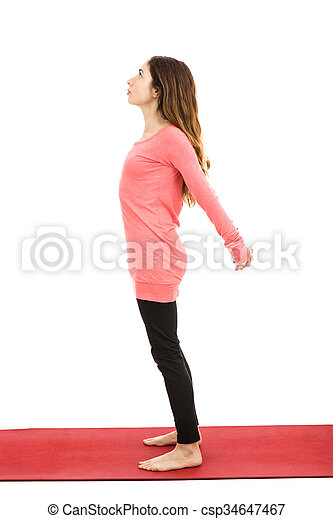 mountain pose with shoulder stretch woman in mountain