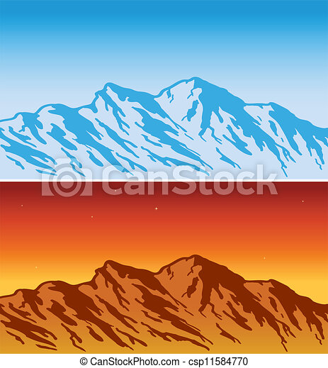 Mountain range day and evening view vector illustration mountain range vector sciox Gallery