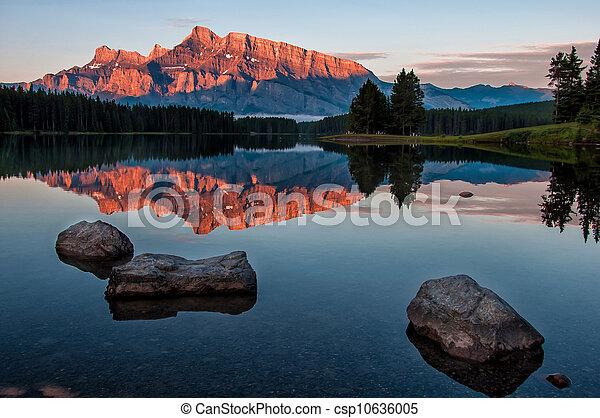 Mountain Reflection in Lake Minnewanka - csp10636005