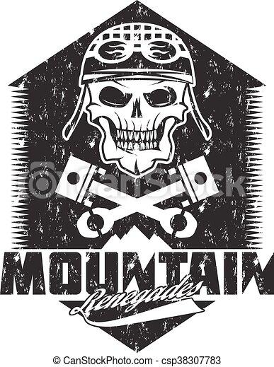 mountain renegades vintage grunge print with skull, pistons mountains - csp38307783
