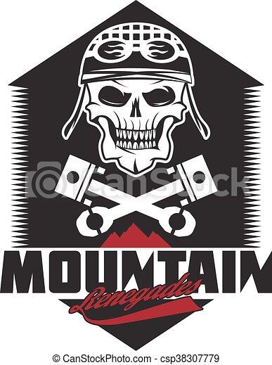 mountain renegades vintage print with skull, pistons mountains - csp38307779