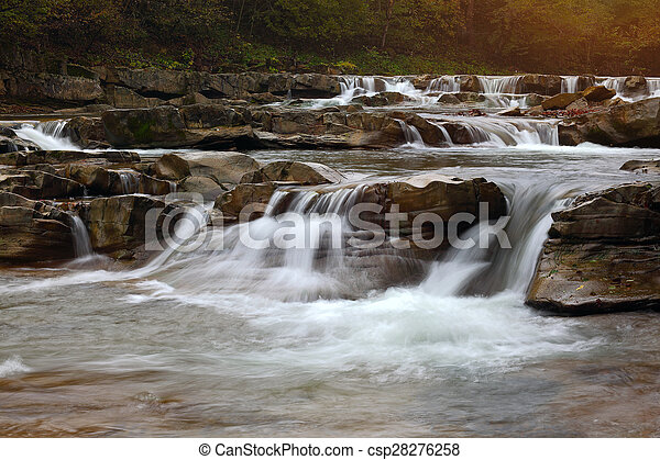 mountain river at summer time - csp28276258