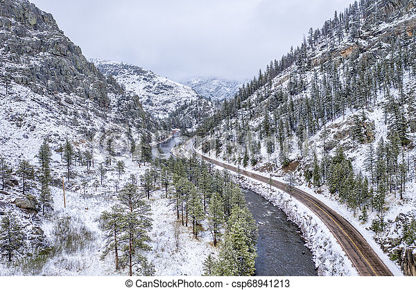 mountain river canyon aerial view - csp68941213