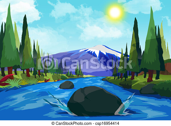 Mountain River Stock Illustration Of River View