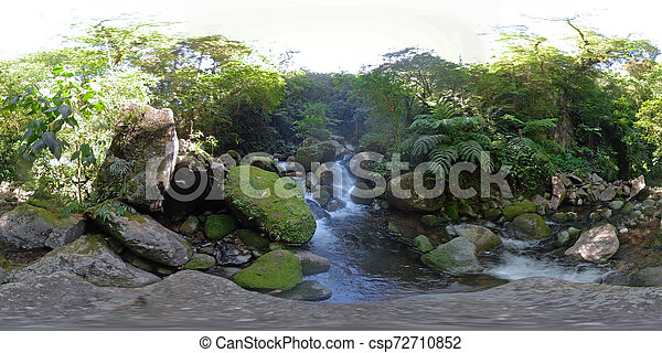 Mountain river in the rainforest 360VR - csp72710852