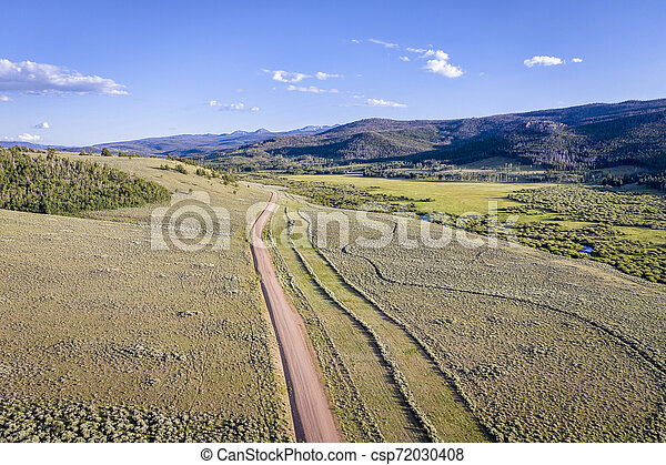 mountain river valley aerial view - csp72030408