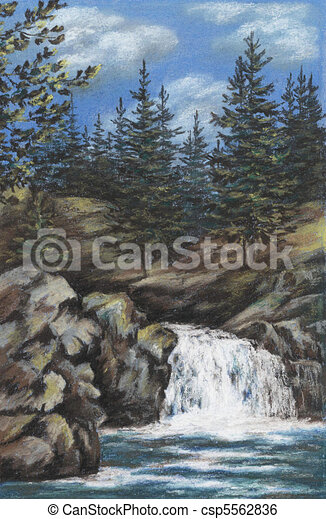 Mountain river with falls - csp5562836