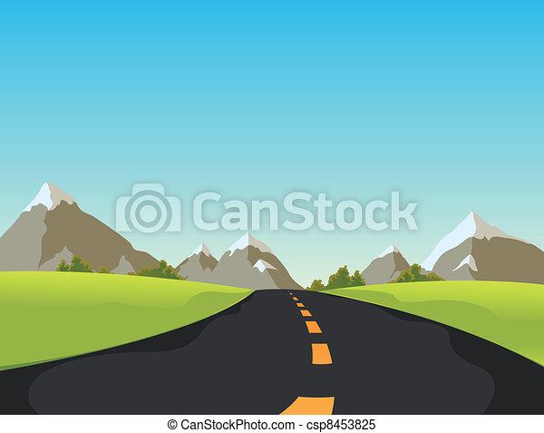 Cute Simple Line Art : Illustration of a simple cute cartoon mountain road clipart vector