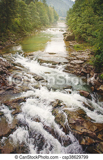 mountain rock river on a sunny day - csp38629799