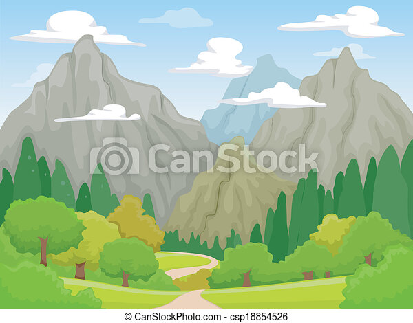 Mountain scenery illustration of a peaceful scenery vector mountain scenery csp18854526 voltagebd Images
