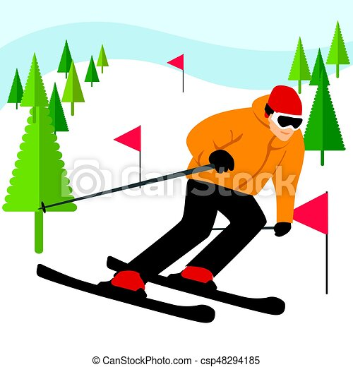 mountain skier slides from mountain with coniferous trees vector rh canstockphoto com skier clipart free skier clipart black and white