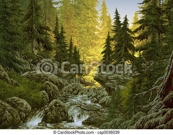 Mountain Stream Image From An Original Painting By Larry