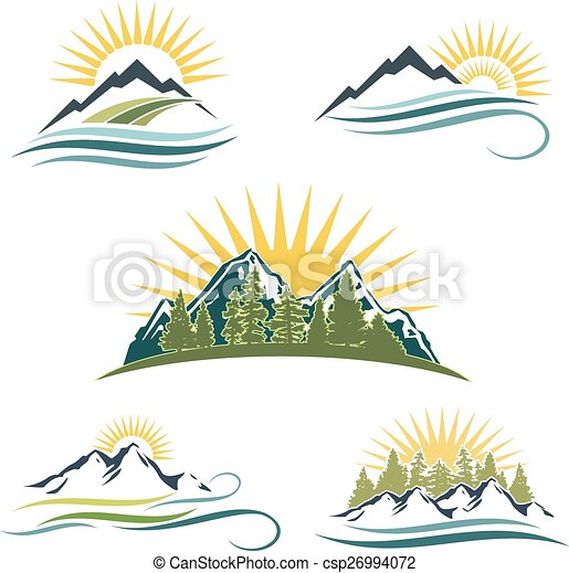 mountain sunrise nature icon set 5 different icons and styles rh canstockphoto com Mountain Scene Clip Art Mountain Silhouette Clip Art