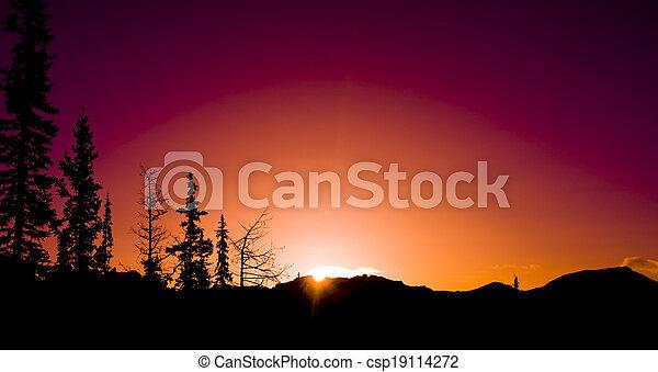 Mountain Sunrise silhouettes - csp19114272