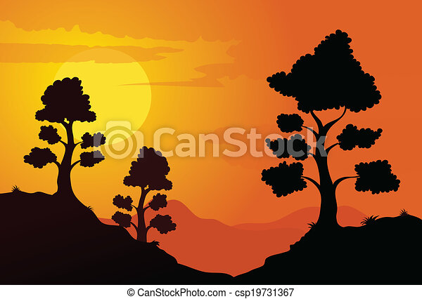 mountain sunset mountain trees in the sunset vector cartoon rh canstockphoto com Mountain Range Clip Art Desert Sunset Clip Art