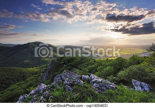 mountain sunset landscape - csp14054631