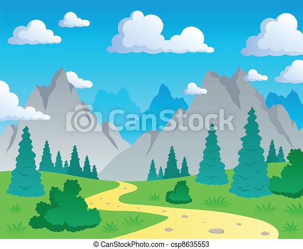 Mountain theme landscape 1 - csp8635553