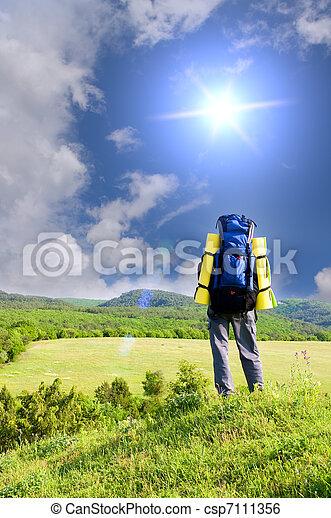 mountain., touriste, homme - csp7111356
