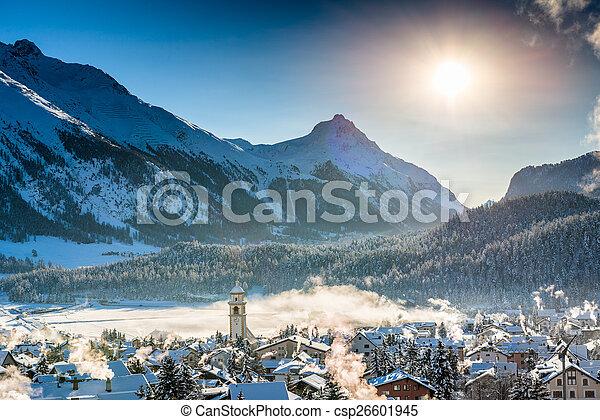 Mountain town in winter - csp26601945