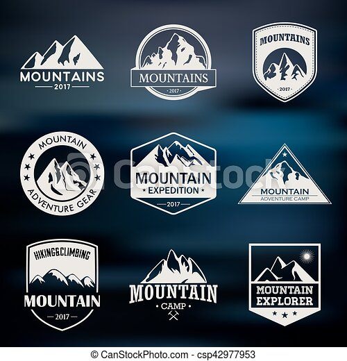 Mountain travel, outdoor adventures logo set. Hiking and climbing labels or icons for tourism organizations, events, camping leisure. - csp42977953