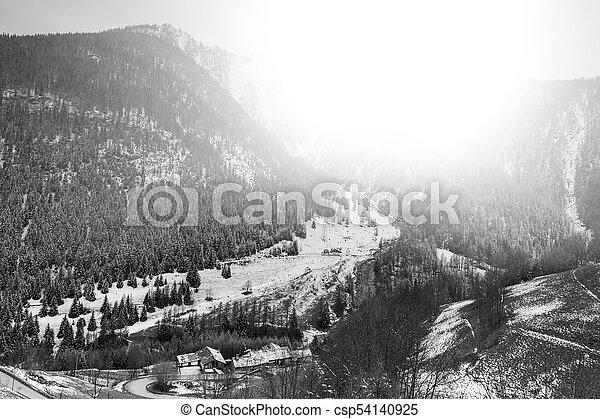 Mountain valley at sunrise - csp54140925