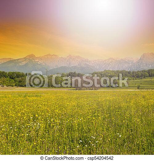 Mountain valley at sunrise - csp54204542