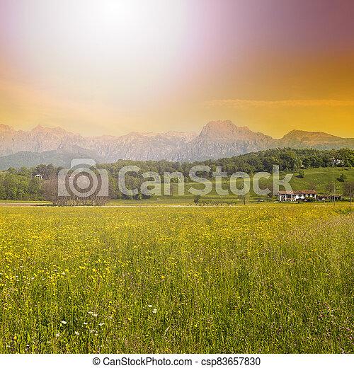 Mountain valley at sunrise - csp83657830