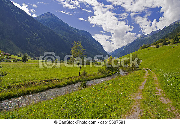 Mountain valley in Austria - csp15607591