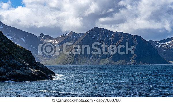 Mountain view in rugged Lofoten islands, Norway - csp77060780