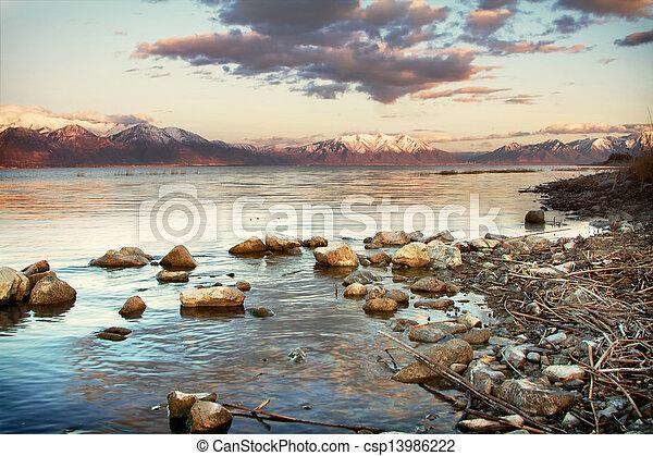 Mountain view of Utah Lake - csp13986222