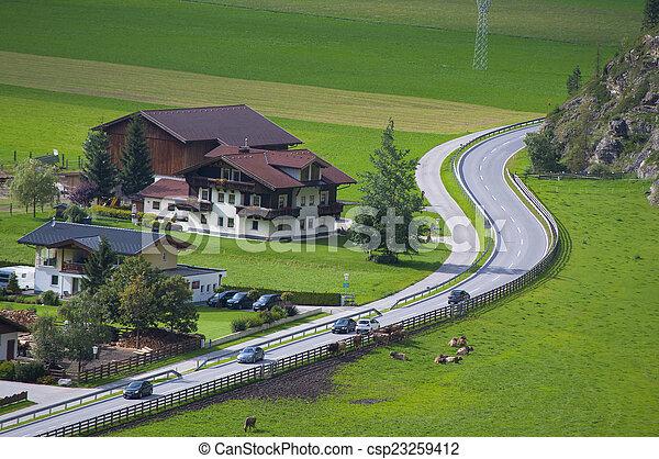 Mountain village in Otztal, Tirol, Austria - csp23259412