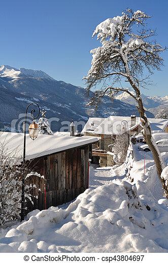 mountain village in winter - csp43804697