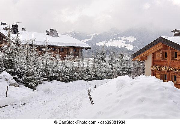 mountain village in winter - csp39881934