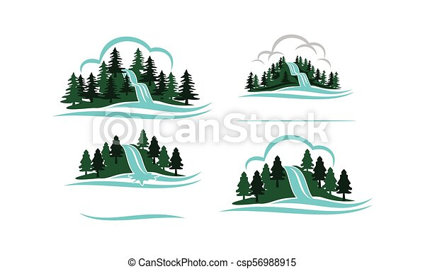 Mountain Waterfall Template Set - csp56988915