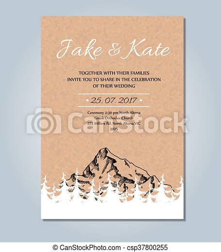 Mountain wedding invitation vector rustic card template wedding mountain wedding invitation vector rustic card template wedding card sketch illustration with mountain and pinecone tree forest stopboris Images