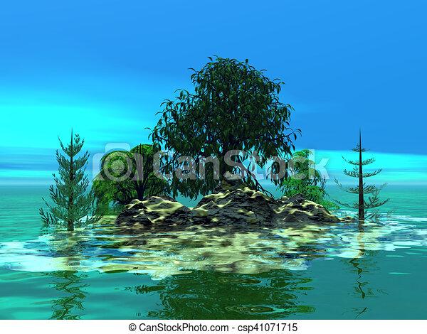 Mountainous little island with trees - csp41071715