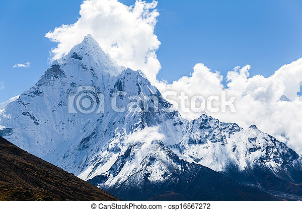Mountains Ama Dablam, Himalaya landscape - csp16567272