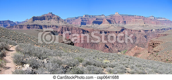 Mountains and dry vegetation, Grand Canyon National Park, United States, Panorama - csp0641688