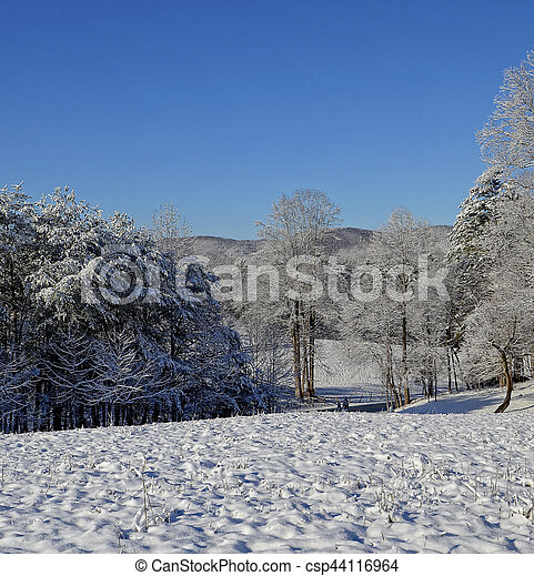 Mountains and Pasture in Winter Snow - csp44116964