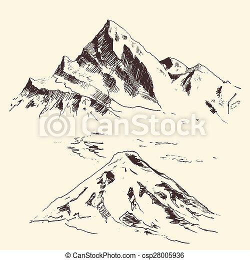 Mountains Contours Engraving Vector Hand Draw Mountains Contours Of