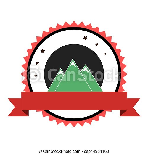 mountains emblem with ribbon icon - csp44984160