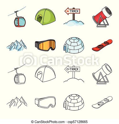 Mountains Goggles An Igloo A Snowboard Ski Resort Set Collection