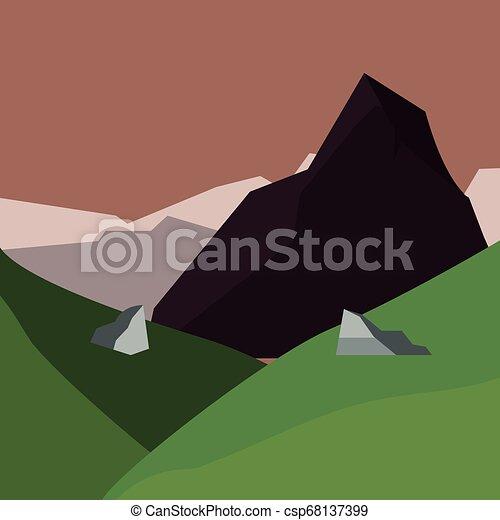 mountains hills field natural landscape - csp68137399
