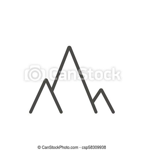 Mountains icon vector  Line landscape travel symbol