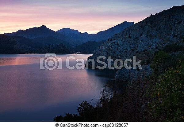mountains lake in sunrise - csp83128057