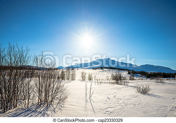 mountains on a sunny winter day - csp23330329