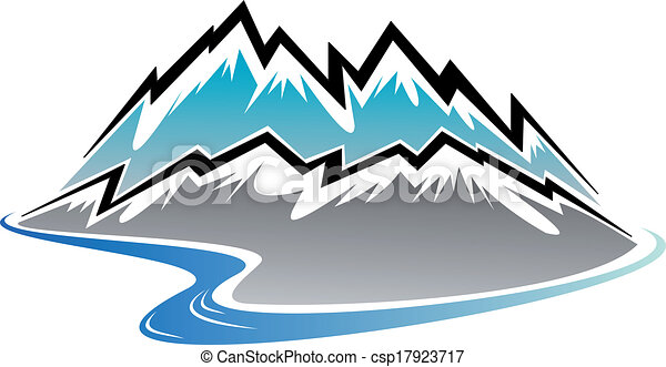 snow covered mountains peaks and river in cartoon style vector clip rh canstockphoto com  landmarks clip art